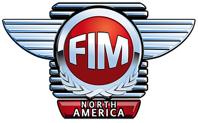 FIM North America Logo - shiny chrome badge with red accents