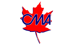 Letters CMA on red maple leaf - Canadian Motorcycle Association logo
